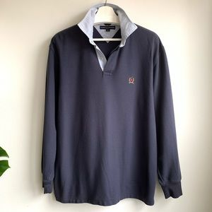 Tommy Hilfiger VTG long sleeve navy blue polo GUC